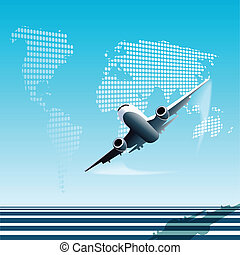 illustration, plane on blue globe on white background