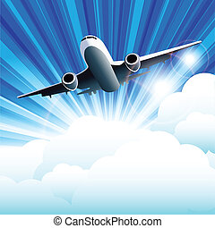 plane - illustration, plane on cloud on background blue sky