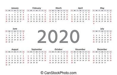 illustration., planner., år, calendar., vektor, mall, 2020
