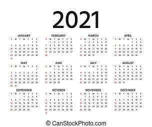 illustration., planner., år, calendar., vektor, mall, 2021