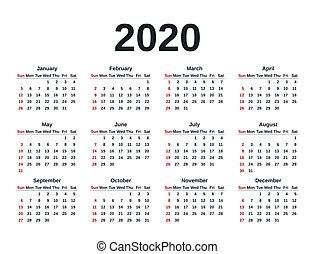illustration., planner., ベクトル, テンプレート, year., 2020, カレンダー, 文房具