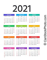 illustration., planner., anno, calendar., vettore, sagoma, ...