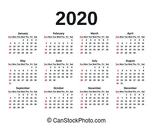 illustration., planner., vektor, mall, year., 2020, kalender, skrivpapper