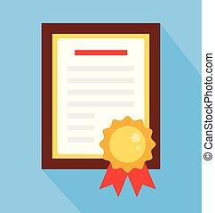 illustration, plat, école, concept, certificat, collage, université, graphique, education, isolé, remise de diplomes, diplôme, papier, vecteur, conception, concurrence, concept., élément, dessin animé, enjôleur, object.