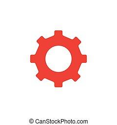 illustration., plat, blanc rouge, icône, arrière-plan., style, engrenage, vecteur