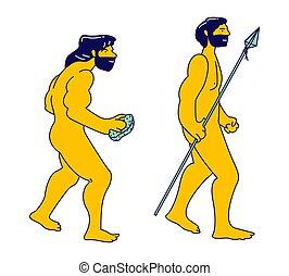 illustration, plat, homme cavernes, main, évoluer, dessin...