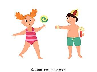 illustration, plat, swimsuits, isolé, dessin animé, vecteur, heureux, enfants