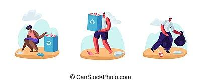 illustration, plat, volontaires, genres, déchets ménagers, haut, dessin animé, sacs, bord mer, propre, garbage., vecteur, ensemble, gens, différent, pollution, coast., protection, ramassage, plage., écologie, océan, désert