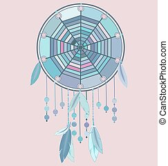 illustration, plumes, bleu, image, rose, coloré, vecteur, dreamcatcher