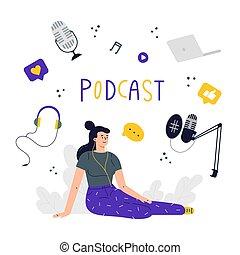 illustration, podcast, begrepp