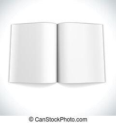 illustration., podwójny, rozpostarty, magazyn, wektor, czysta kartka