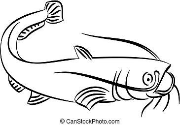 illustration, poisson-chat