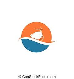 illustration, poisson-chat, conception, icône, vecteur