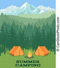 illustration., polana, wektor, kemping namiot, turysta, las
