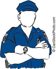 illustration, policier