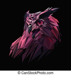 Illustration polygonal owl head design