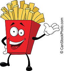 illustration, pomme terre frite, cartoo