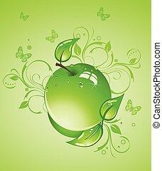 illustration, pomme, vecteur, vert