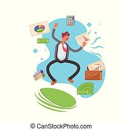 illustration., pomyślny, nowoczesny, -, skokowy, wektor, joy., biznesmen