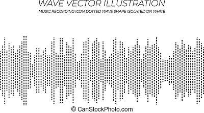 illustration., pontilhado, onda, vetorial, música, ícone, pretas, branca
