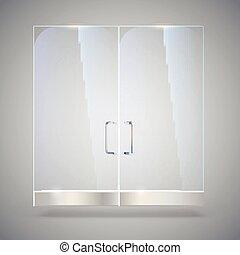 illustration., porte, magasin, bureau, ombres, porte, boutique, centre commercial, métal, isolé, verre, gris, arrière-plan., poignées, vecteur, reflet, transparent, 3d