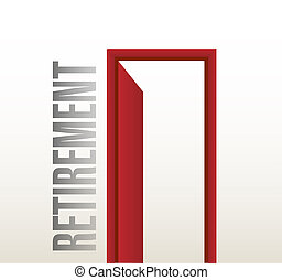 illustration, porte, retraite, conception, ouvert