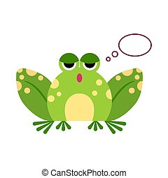 Illustration portrait of frog. Cute thinking frog face.