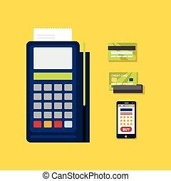 illustration., pos, terminal, kredyt, wektor, icon., karta