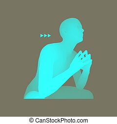 illustration., pose., 哲学, 3d, ビジネス, 思想家, ベクトル, モデル, 人, ∥あるいは∥, man., 心理学