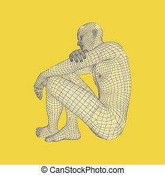 illustration., pose., 哲学, 3d, 思想家, ベクトル, モデル, 人, ∥あるいは∥, man., 心理学