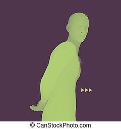 illustration., pose., 哲学, 3d, 科学, ビジネス, 思想家, ベクトル, モデル, 人, ∥あるいは∥, man., 心理学