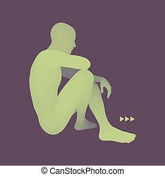 illustration., pose., 3d, 思想家, ベクトル, モデル, 人, man., 心理学