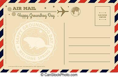 illustration., postcard., vendemmia, vettore, groundhog, giorno