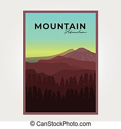 Illustration Poster Mountain Adventure Background Vector Design