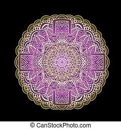 illustration., pourpre, pattern., arrière-plan., vecteur, noir, ethnique, impression, mandala, authentique