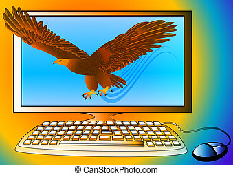 powerful computer as strong eagle flying from monitor -...