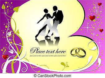 illustration., powitanie, valentine`s, wektor, zaproszenie, dzień, karta, card.