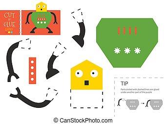 illustration., pré-escolar, vetorial, papel, corte, robô, corte, cola, crianças, brinquedo, tesouras, modelo, personagem