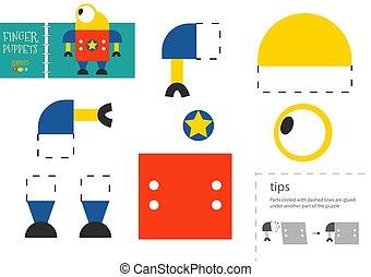 illustration., préscolaire, vecteur, papier, coupure, robot, découpage, mignon, colle, jouet, ciseaux, modèle, kids., caractère