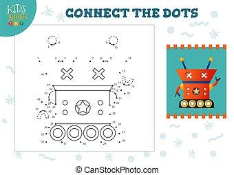 illustration., préscolaire, vecteur, relier, points, mini, jeu, activité, gosses, education, enfants