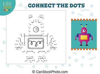 illustration., préscolaire, vecteur, relier, points, pédagogique, jeu, activité, gosses, enfants