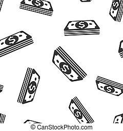 illustration., próbka, symbol, halabarda, dolar, gotówka, seamless, tło., wektor, pattern., ikona