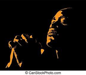 illustration., praying., sylwetka, backlight., afrykański człowiek