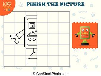 illustration., preescolar, vector, completo, copia, juego, imagen, niños, escuela, colorido