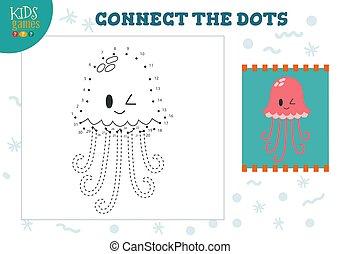 illustration., preescolar, vector, conectar, puntos, dibujo...