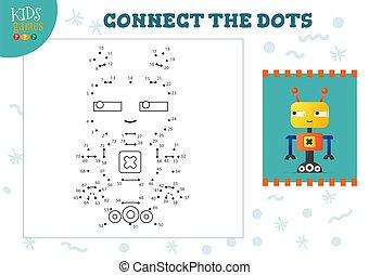 illustration., preescolar, vector, conectar, puntos, educativo, juego, actividad, niños, niños