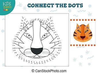 illustration., preescolar, vector, conectar, puntos, juego, ...
