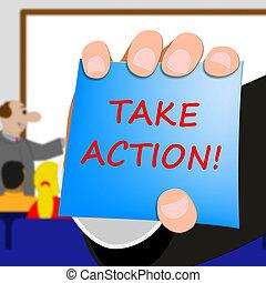 illustration, prendre, action, message, spectacles, 3d