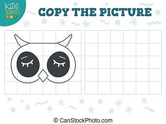 illustration., preschool, vektor, grid, uddannelses, kopi, boldspil, billede, børn