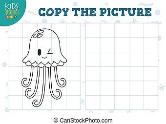 illustration., preschool, vektor, grid, uddannelses, kopi, opgave, mini, boldspil, billede, børn